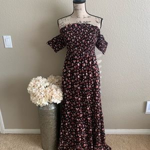 Strapless floral dress with pockets ✨